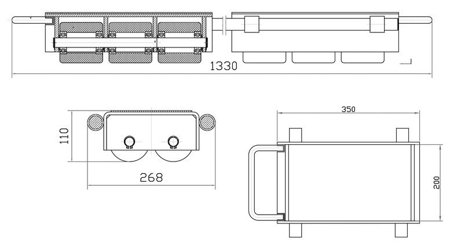 DOSTAWA GRATIS! 44366796 Podwójne rolki transportowe, transportery (udźwig: 12000 kg)