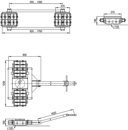 DOSTAWA GRATIS! 49972679 Zestaw podwozi transportowych (nośność: 80T)