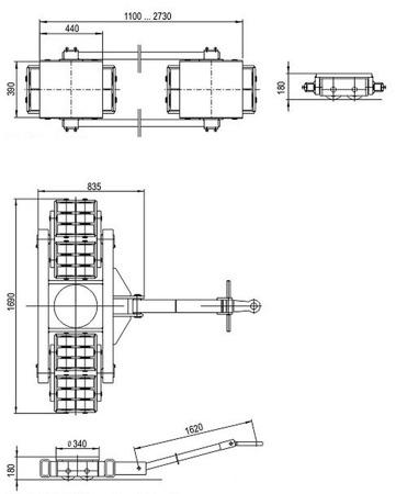 DOSTAWA GRATIS! 49972680 Zestaw podwozi transportowych (nośność: 120T)