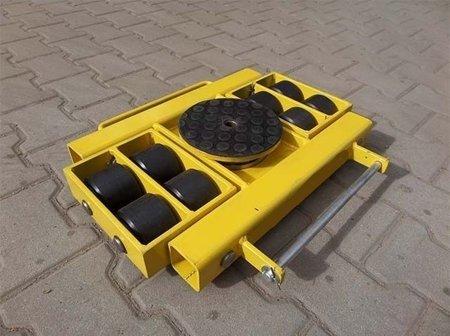 Wózek skrętny z otworem fi 21 w płycie nośnej, 8 rolkowy, rolki: 8x kompozyt (nośność: 12 T) 12267435